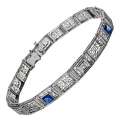 Art Deco Diamond Sapphire Gold Bracelet, circa 1930