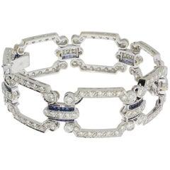 Art Deco Diamond Sapphire Gold Link Bracelet