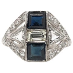 Art Deco Diamond and Sapphire Mixed Cut Ring