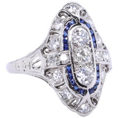 Art Deco Diamond Sapphire Navette Platinum Ring