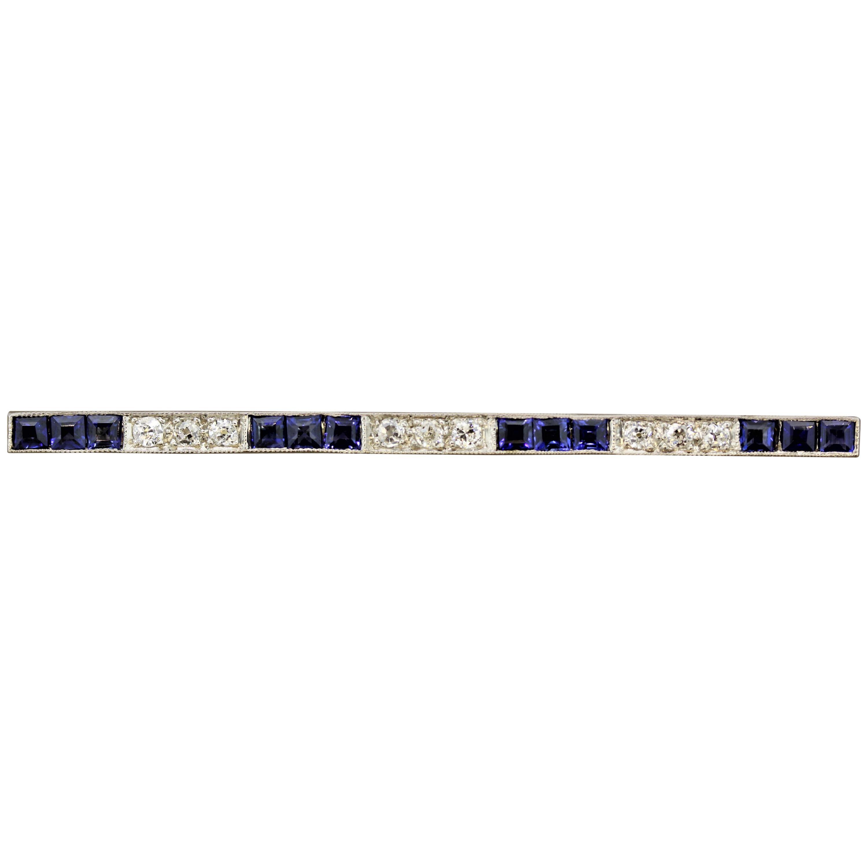 Art Deco Diamond Sapphire Platinum Bar Pin