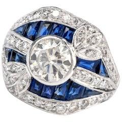 Art Deco Diamond Sapphire Platinum Cocktail Engagement Ring
