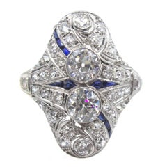 Art Deco Diamond Sapphire Platinum Cocktail Ring