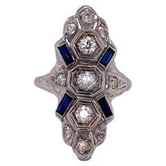 Art Deco Diamond Sapphire Platinum Cocktail Vintage Ring