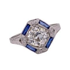 Art Deco Diamond Sapphire Platinum Engagement Ring 1.23 Carat J/VS2 GIA
