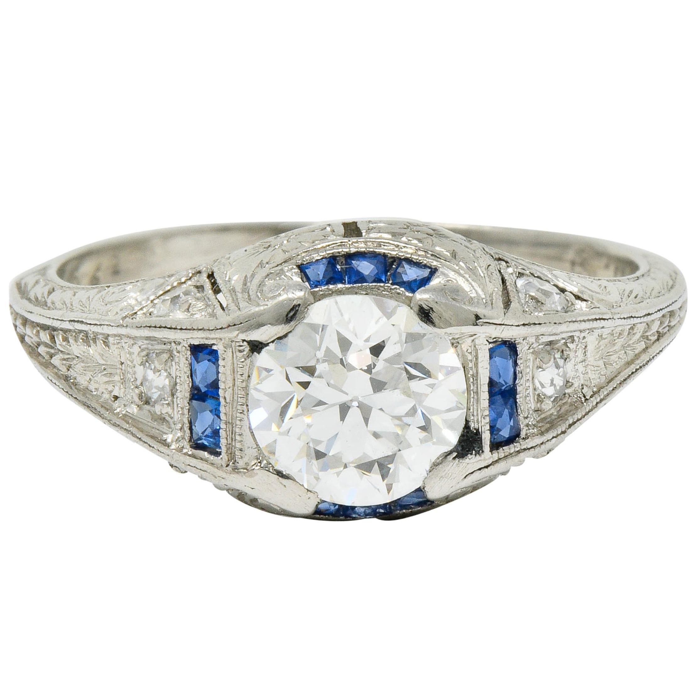 Art Deco Diamond Sapphire Platinum Floral Engagement Ring
