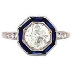 Art Deco Diamond Sapphire Platinum Halo Ring