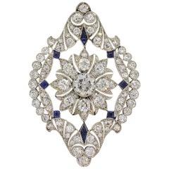 Art Deco Diamond Sapphire Platinum Pendant