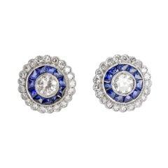 Art Deco Diamond Sapphire Platinum Target Earrings