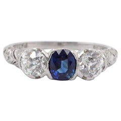Art Deco Diamond Sapphire Platinum Three-Stone Ring