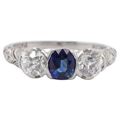 Art Deco Diamond Sapphire Platinum Three-Stone Ring