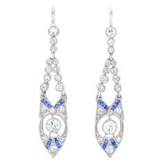Art Deco Diamond & Sapphire-set Earrings
