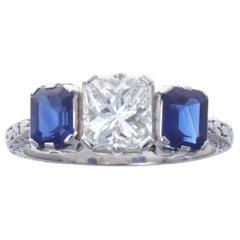 Art Deco Diamond Sapphire Three-Stone Platinum Ring