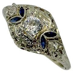 Art Deco Diamond Sapphire Wedding Engagement Ring 18 Karat White Gold Stacking