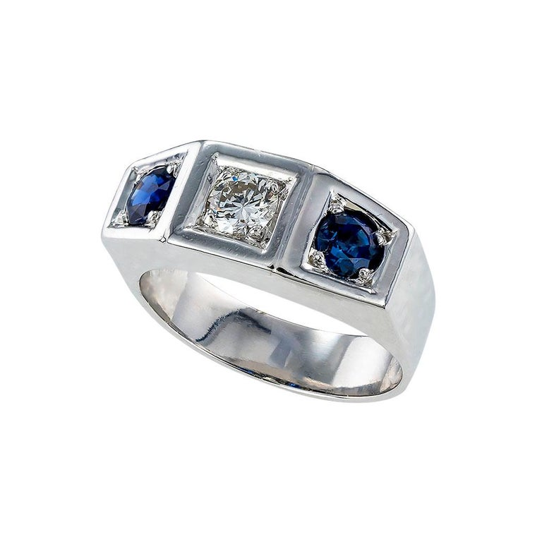 Art Deco diamond sapphire and white gold and platinum three stone ring circa 1930.  Clear and concise information you want to know is listed below.  Contact us right away if you have additional questions.  We are here to connect you with beautiful