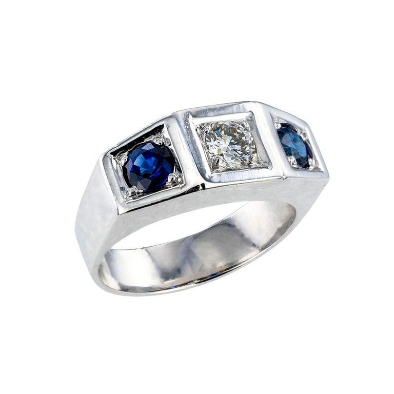 Round Cut Art Deco Diamond Sapphire White Gold Three Stone Ring For Sale