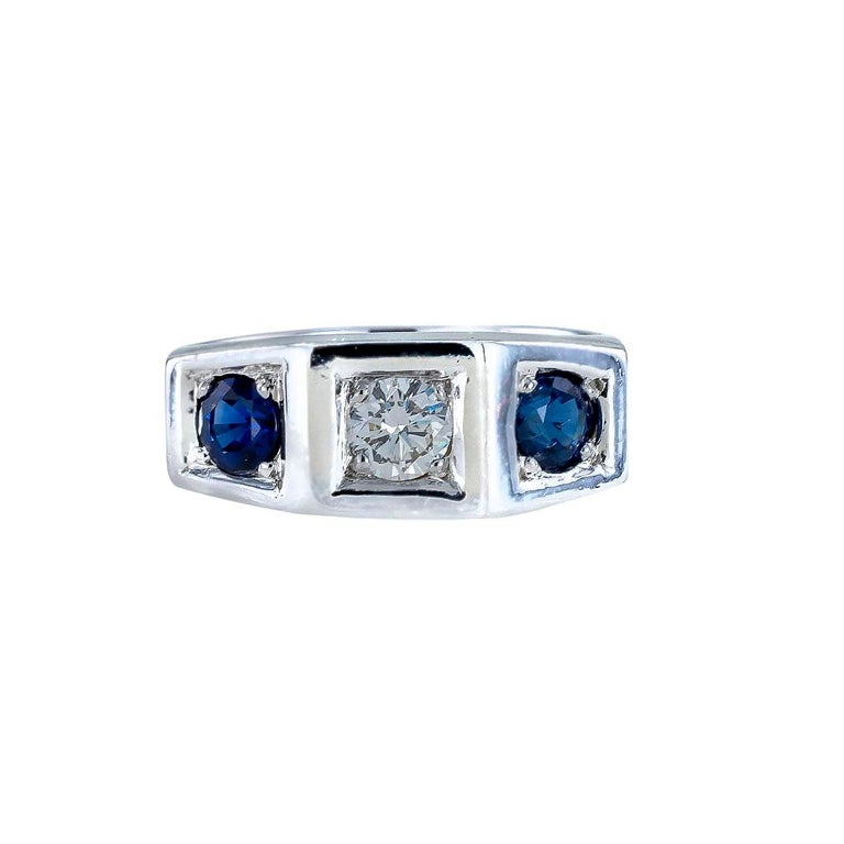 Art Deco Diamond Sapphire White Gold Three Stone Ring In Good Condition For Sale In Los Angeles, CA
