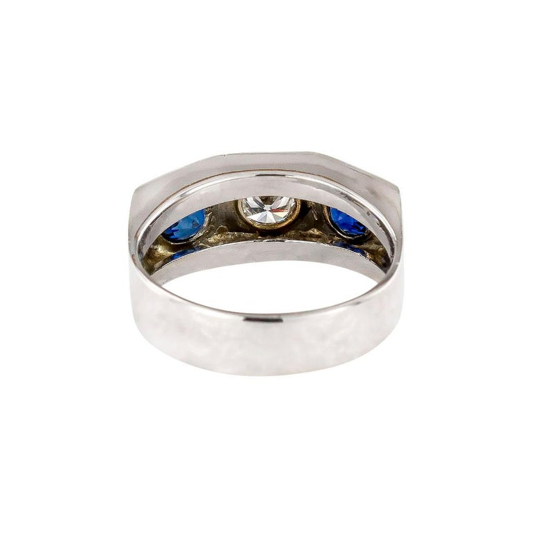 Art Deco Diamond Sapphire White Gold Three Stone Ring For Sale 1
