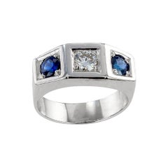 Art Deco Diamond Sapphire White Gold Three Stone Ring