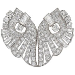 Art Deco Diamond Set Double-Clip Brooch