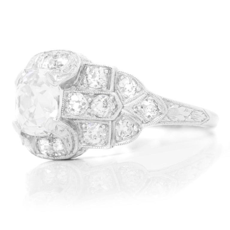 Brilliant Cut Art Deco Diamond-Set Platinum Ring For Sale