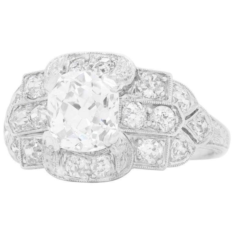 Art Deco Diamond-Set Platinum Ring For Sale