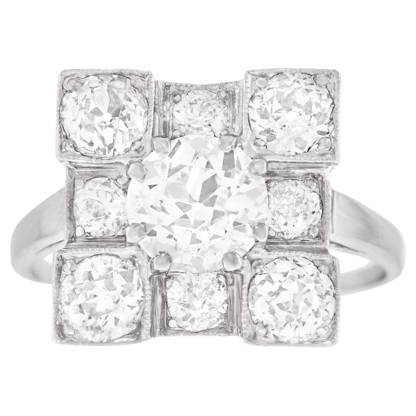 Art Deco Diamond Set Platinum Ring