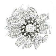 Art Deco Diamond Set White Gold Brooch