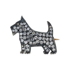 Art Deco Diamond Silver Gold Scottie Dog Brooch