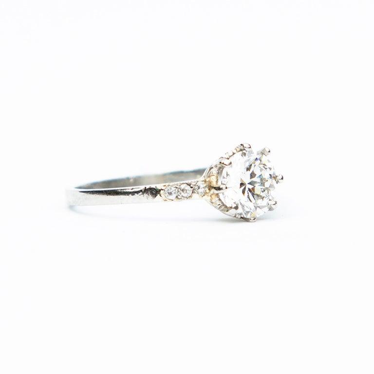 Old European Cut Art Deco Diamond Solitaire 18 Karat White Gold Engagement Ring For Sale