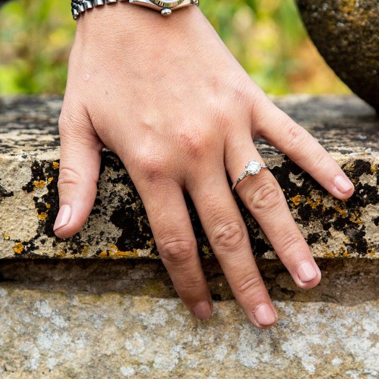 Art Deco Diamond Solitaire 18 Karat White Gold Engagement Ring For Sale 1