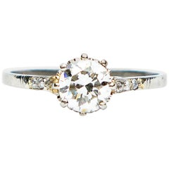 Art Deco Diamond Solitaire 18 Karat White Gold Engagement Ring