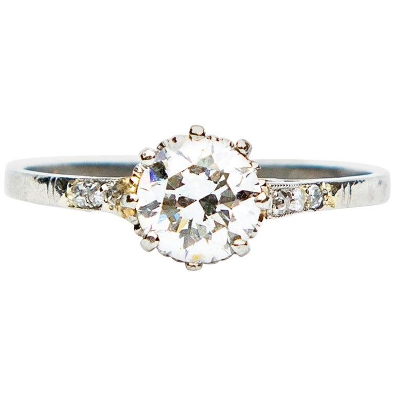 Art Deco Diamond Solitaire 18 Karat White Gold Engagement Ring For Sale