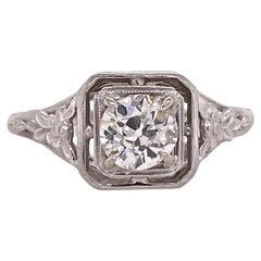 Art Deco Diamond Solitaire Filigree Engagement Ring 18 Karat Gold GIA Certified