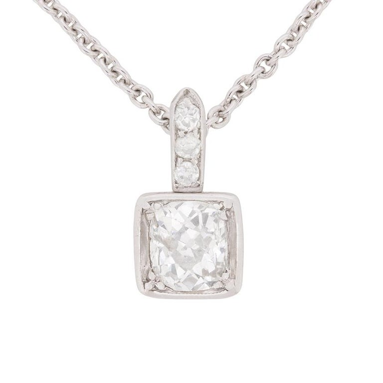 Art Deco Diamond Solitaire Pendant, circa 1920s For Sale