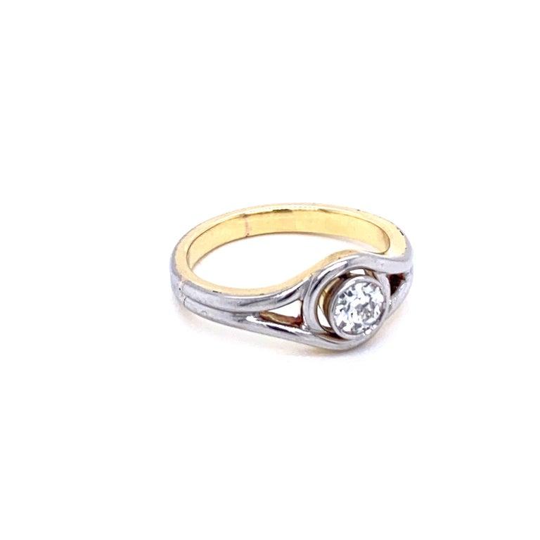 Old Mine Cut Art Deco Diamond Solitaire Platinum Gold Bicolor Ring For Sale