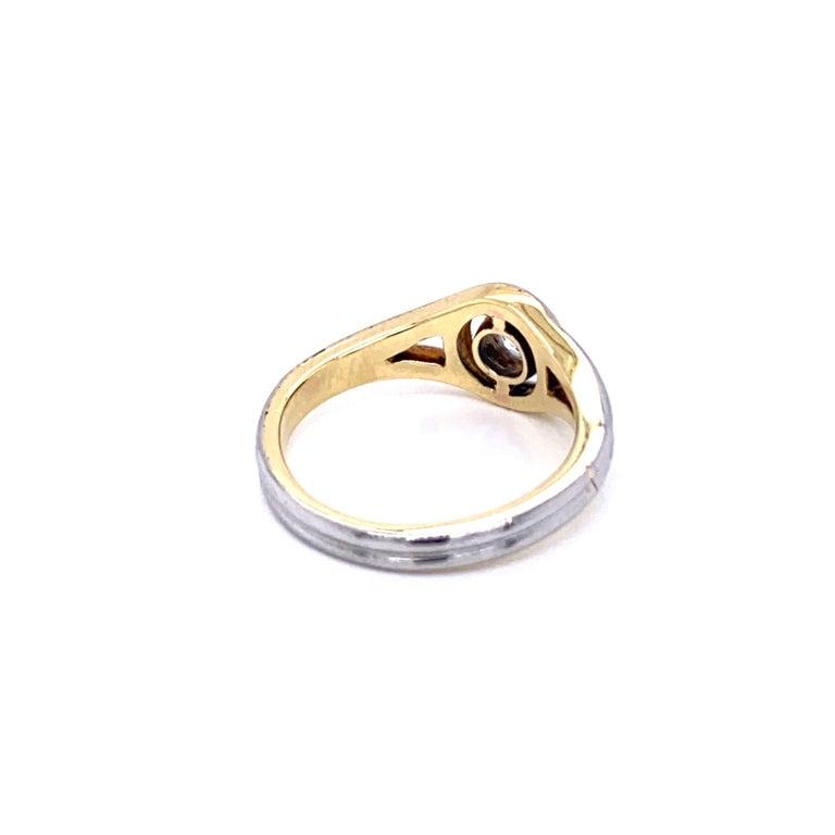 Women's or Men's Art Deco Diamond Solitaire Platinum Gold Bicolor Ring For Sale