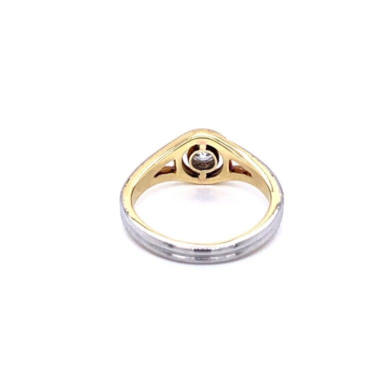 Art Deco Diamond Solitaire Platinum Gold Bicolor Ring For Sale 1