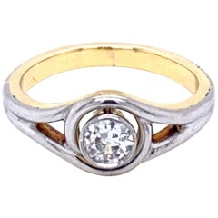 Art Deco Diamond Solitaire Platinum Gold Bicolor Ring