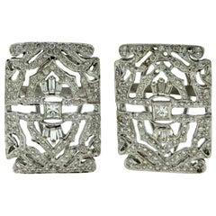 Art Deco Style Diamond Studded Square White Gold Earrings