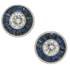 Art Deco Diamond Studs Round Diamonds Half Carat Blue Sapphires French Cut Halo