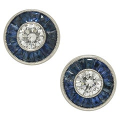 Art Deco Diamond Studs Round Diamonds Half Carat Blue Sapphires French Cut Halo