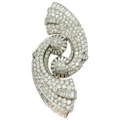 Art Deco Diamond Swirl Brooch