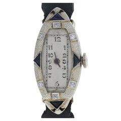 Art Deco Diamond & Synthetic Sapphire Ladies Watch 18k Gold Quartz Conv 2Yr Wnty