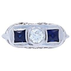 Art Deco Diamond & Synthetic Sapphire Ring, 18k Gold Vintage European .31 Carat