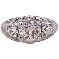 Art Deco Diamond Three-Stone 18 Karat White Gold Engagement Ring