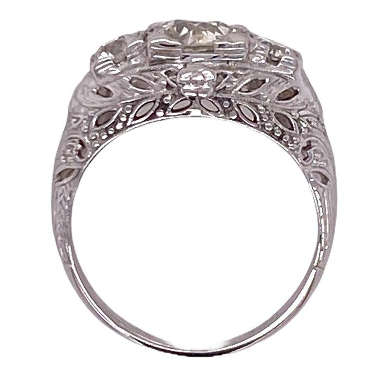 Old European Cut Art Deco Diamond Three-Stone 18 Karat White Gold Engagement Ring For Sale