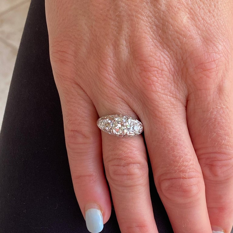 Art Deco Diamond Three-Stone 18 Karat White Gold Engagement Ring In Excellent Condition For Sale In Boca Raton, FL