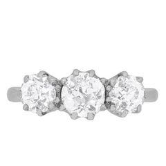 Art Deco Diamond Three-Stone Engagement Ring, circa 1920s