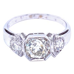 Art Deco Diamond Three-Stone Gold Ring